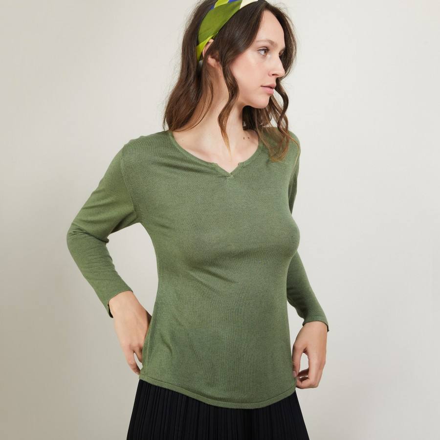 Bamboo cashmere sweater with tunisian collar - Betty