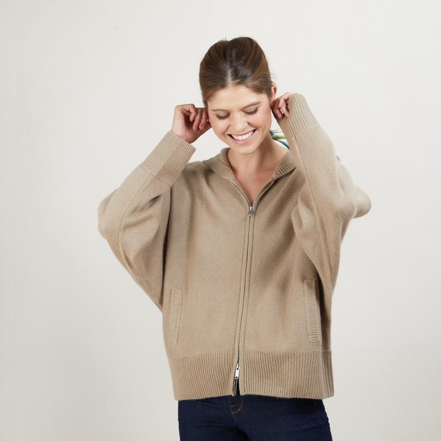 Veste zippée à capuche 100% cachemire GABIN
