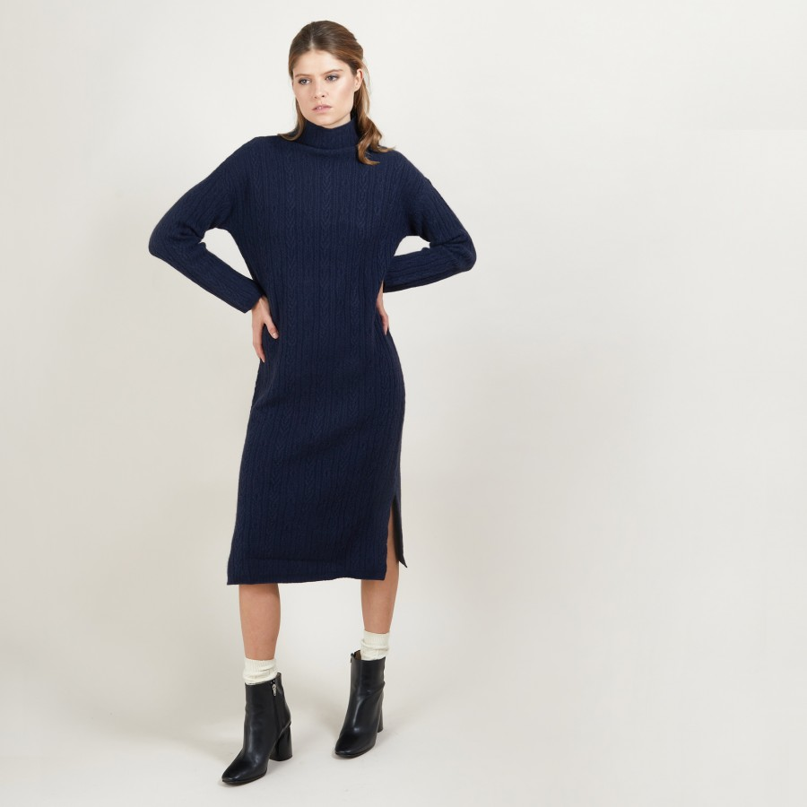 4-ply cashmere cable-knit dress - Gisele