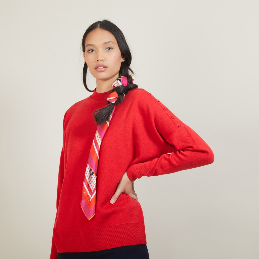 Buttoned shoulder wool sweater - Gipsy