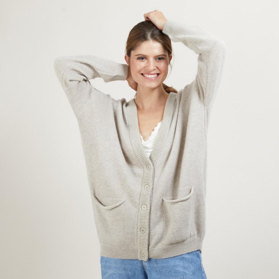 Long cardigan with pockets in alpaca wool - Galaxie