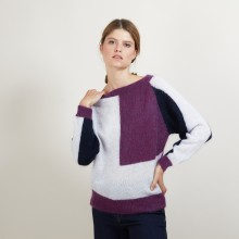 Oversized tricolor mohair sweater - Galva