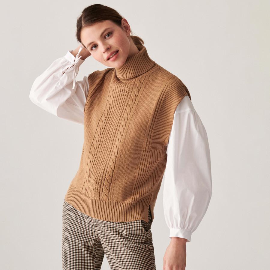 Sleeveless turtleneck sweater in merino wool - Claudia