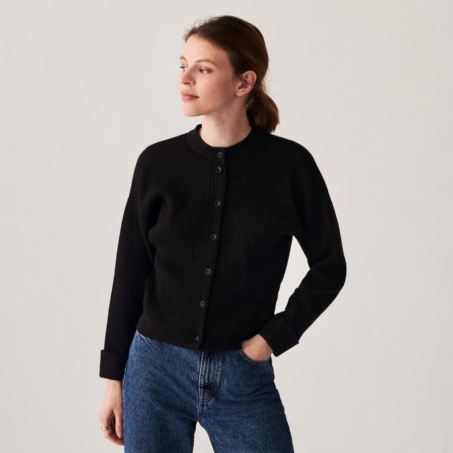 Cotton cashmere button-down cardigan with pockets - Casey