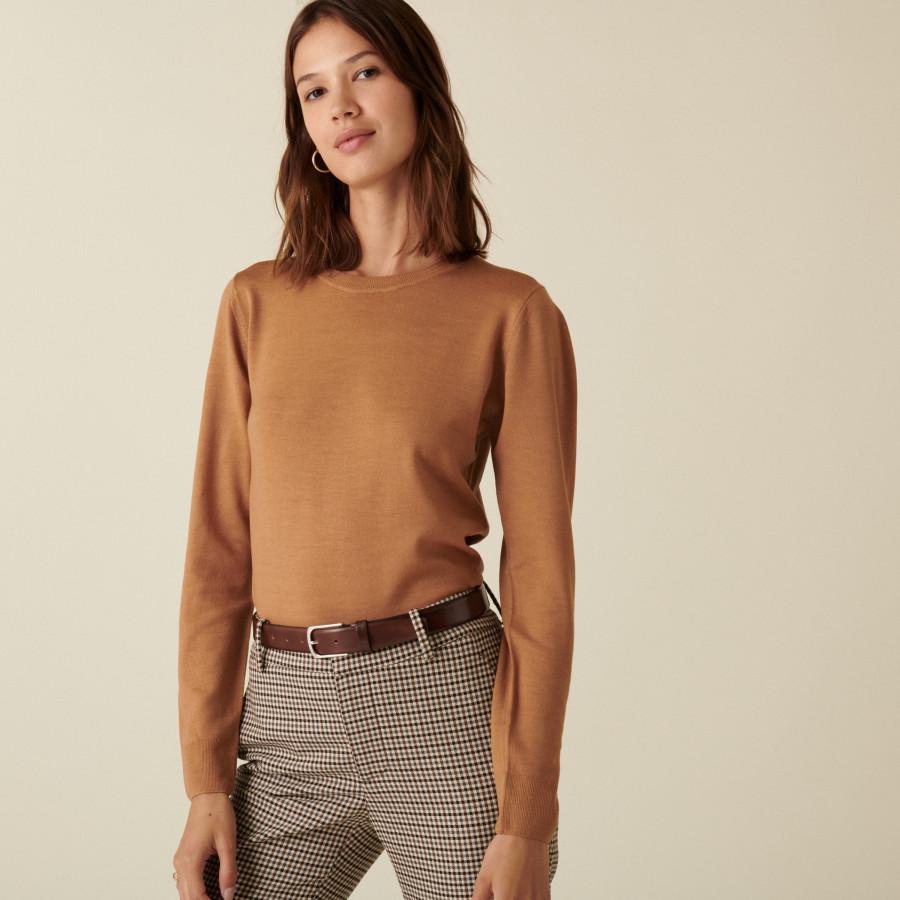 Merino wool round-neck jersey sweater - Asena