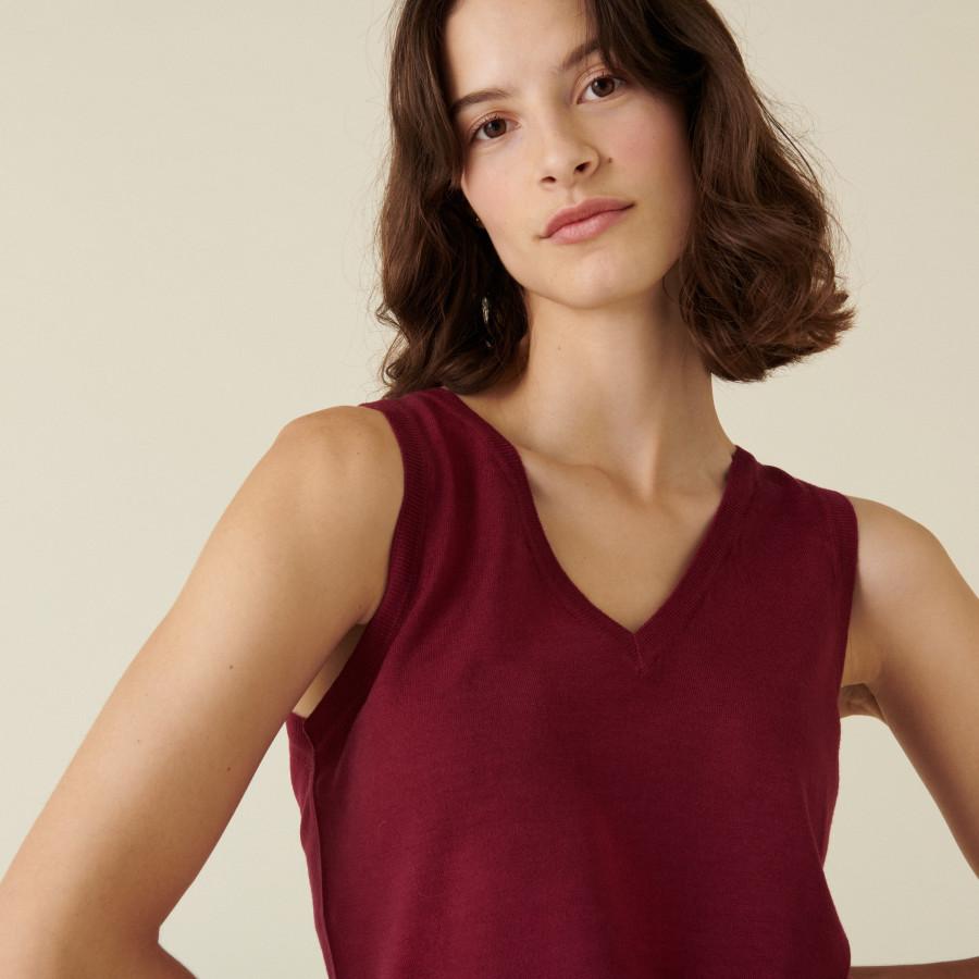 Jersey point merino wool V-neck tank top - Atta