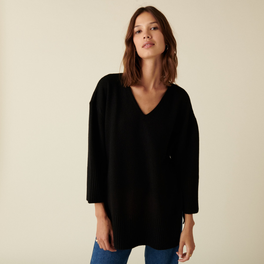Loose slit sweater in recycled cashmere and wool - Darius