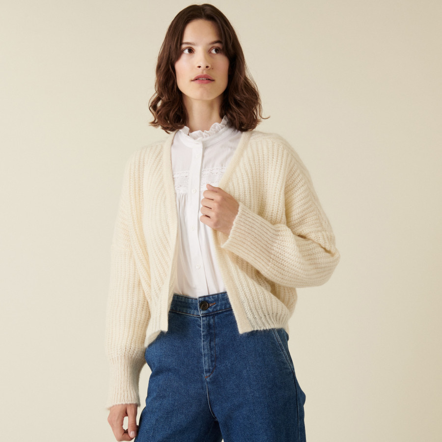 Mohair beaded ribbed cardigan - Camille