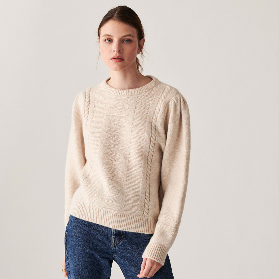 Raglan sleeve sweater in cocoon wool and cable knit - Carlotta