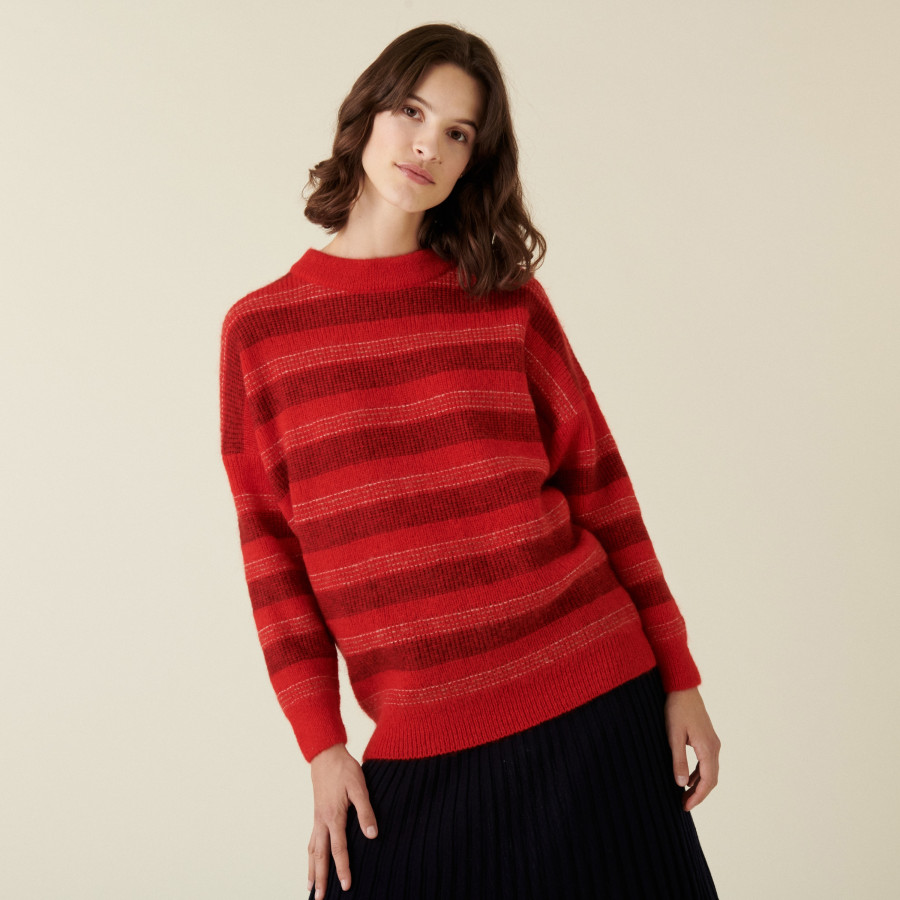 Round-neck striped mohair sweater - Charlie