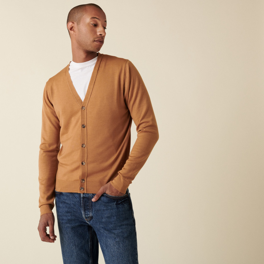 Buttoned cardigan with logo in merino wool - Etienne