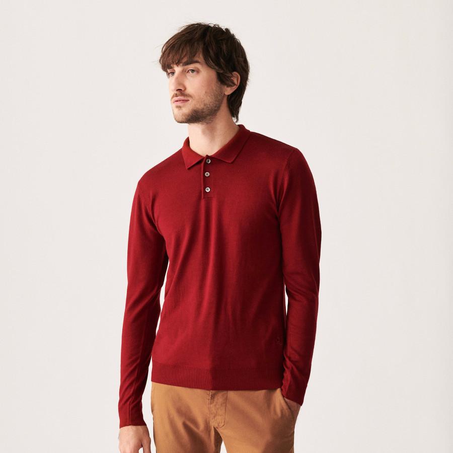 Merino wool sweater with polo collar with logo - Eni