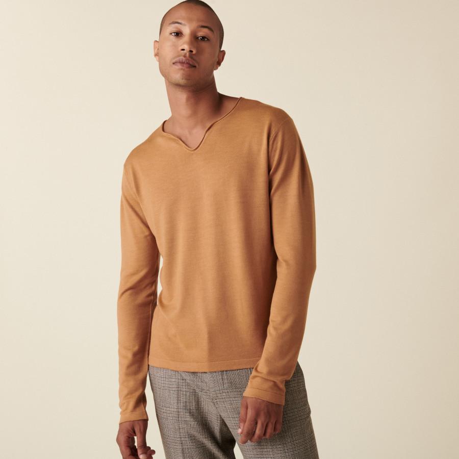 Merino wool sweater with Tunisian collar with logo - Ethan