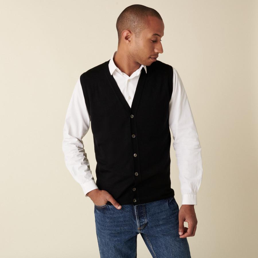Sleeveless cardigan with logo in merino wool - Ernardo