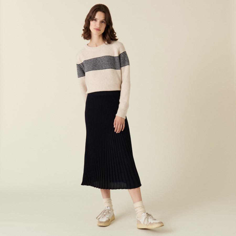 Long flowing merino wool skirt - Caeline
