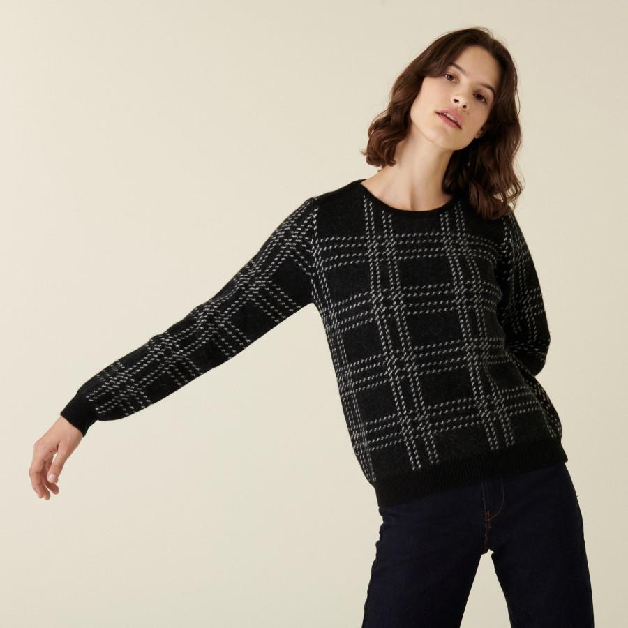 Pull col rond à carreaux en laine alpaga - Carin