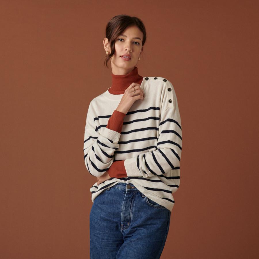 Two-tone round-neck button-down sweater in cashmere - Dalton