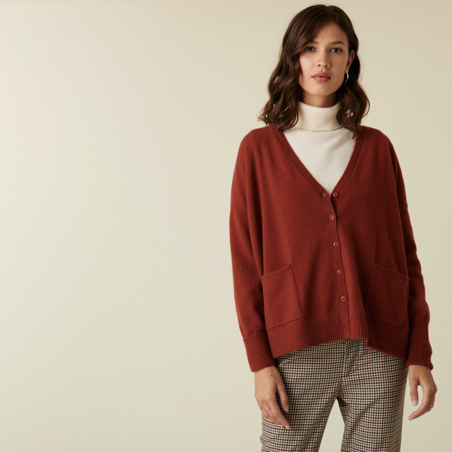 Buttoned V-neck cardigan with cashmere pockets - Achille
