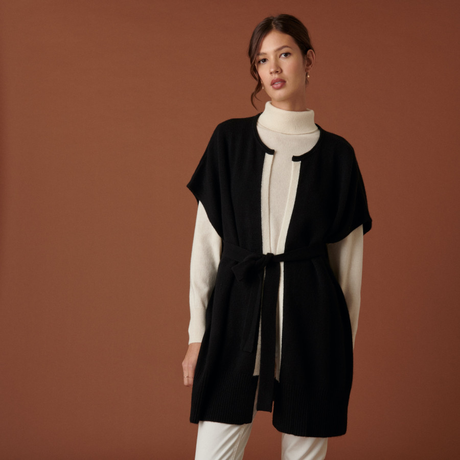 Sleeveless cashmere cape - Clarisse