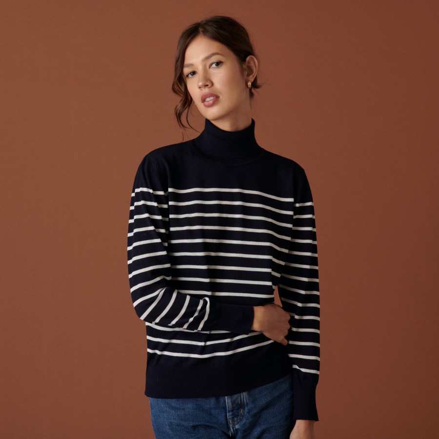 Ribbed merino wool turtleneck sweater - Colette