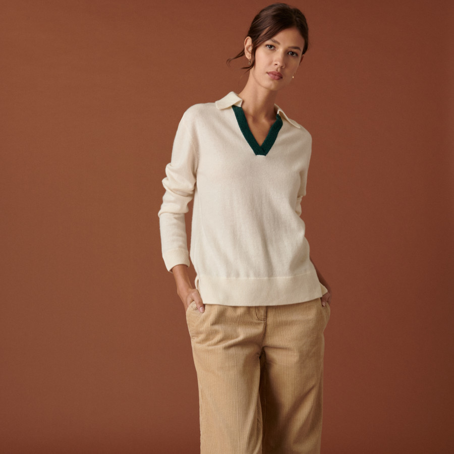 Cashmere sweater with two-tone polo neck - Celenie