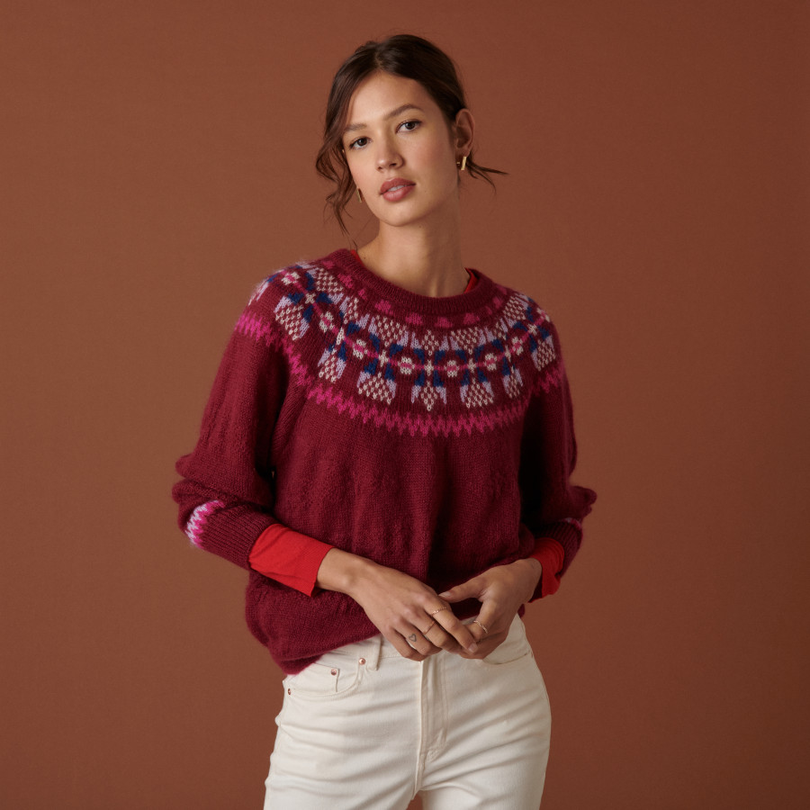 Raglan-sleeved mohair sweater with jacquard pattern - Celine